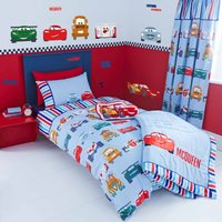 Disney Cars Junior Duvet Cover and Pillowcase Set White / Red / Blue