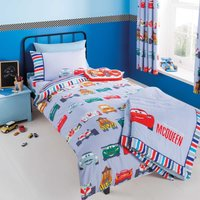 Disney Cars Single Duvet Cover and Pillowcase Set White / Red / Blue