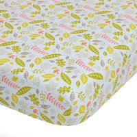 Disney Winnie the Pooh Natural Nursery Pair of Cot Bed Fitted Sheets Pink / Green