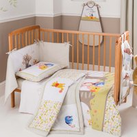 Disney Winnie the Pooh Nursery Cot Duvet Cover and Pillowcase Set Light Brown / Natural