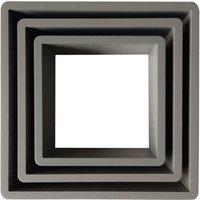 Set of 3 Square Shelves Grey