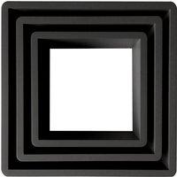 Set of 3 Square Shelves Black