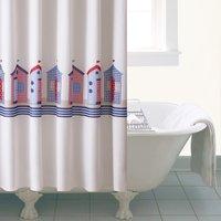 Beach Huts Shower Curtain Cream / Blue