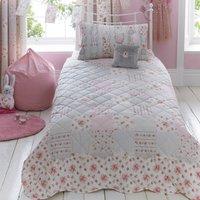 Katy Rabbit Bedspread Pink / Cream / Blue