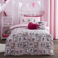 Fluffy Friends Pink Duvet Cover Set Pink