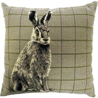 Hare Tapestry Cushion Brown