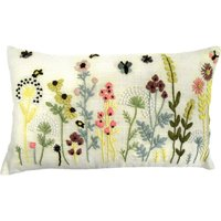 Country Fayre Embroidered Cushion Natural Brown