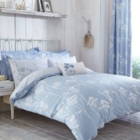 Bryony Blue Reversible Duvet Cover and Pillowcase Set Blue