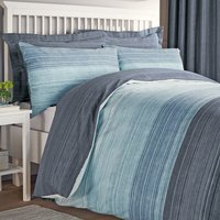 Halton Blue Reversible Duvet Cover and Pillowcase Set Blue