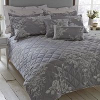 Laura Grey Jacquard Bedspread Grey