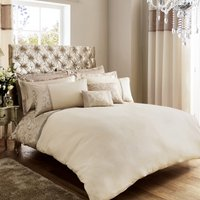 Lucia Embroidered Natural Duvet Cover Natural Brown
