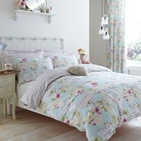Melody Duck Egg Reversible Duvet Cover and Pillowcase Set Blue