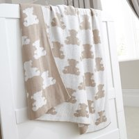 Archie Bear Nursery Knitted Blanket Natural