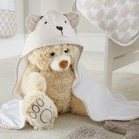 Archie Bear Nursery Cuddle Robe and Mitt Beige