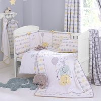 Ellie and Friends Nursery Duvet Cover and Pillowcase Set White / Yellow
