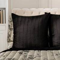 Dorma Harriet Quilted Square Pillowcase Black