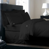 Dorma 350 Thread Count 100% Cotton Satin Plain Dye Black Duvet Cover Black
