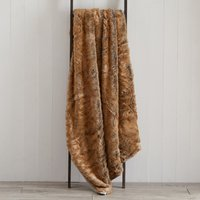 Large Natural Faux Fur Throw Brown