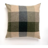 Large Heritage Check Cushion Green
