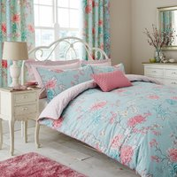 Kyoto Duck-Egg Reversible Duvet Cover and Pillowcase Set Duck Egg Blue