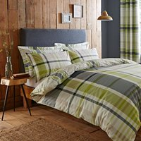 Stanley Green Reversible Duvet Cover and Pillowcase Set Green