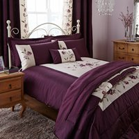 Verity Emboridered Plum Duvet Cover Plum Purple