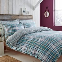 Hartford Teal Brushed Cotton Reversible Duvet Cover and Pillowcase Set Teal (Blue)
