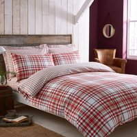 Hartford Red Brushed Cotton Reversible Duvet Cover and Pillowcase Set Red