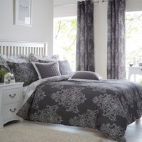 Versailles Charcoal Reversible Duvet Cover and Pillowcase Set Charcoal