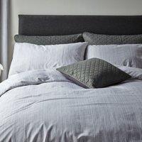 Jasper Woven Grey Duvet Cover and Pillowcase Set Grey