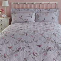 Beautiful Birds Grey Bedspread Grey