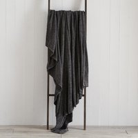 Chenille Charcoal Throw Charcoal Grey
