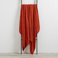 Chenille Terracotta Throw Terracotta Orange