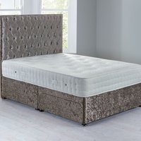 Shenice Sprung Edge Divan Set With 2 Drawers Crushed Velvet Platinum