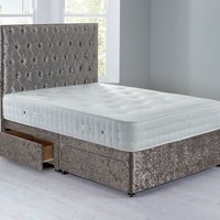 Shenice Sprung Edge Divan Set With 4 Drawers Crushed Velvet Platinum
