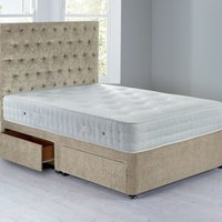 Shenice Sprung Edge Divan Set With 4 Drawers Crushed Velvet Pearl