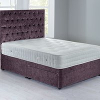 Shenice Platform Top Divan Set With 2 Drawers Crushed Velvet Amethyst