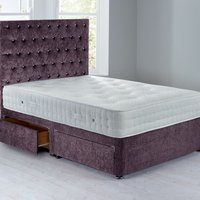 Shenice Platform Top Divan Set With 4 Drawers Crushed Velvet Amethyst