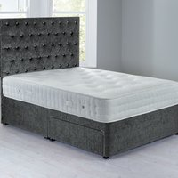 Shenice Platform Top Divan Set With 2 Drawers Grace Pewter (Grey)