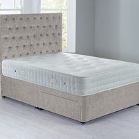 Shenice Sprung Edge Divan Set With 2 Drawers Grace Linen (Natural)