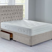 Shenice Sprung Edge Divan Set With 4 Drawers Grace Linen (Natural)