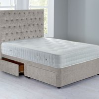 Shenice Platform Top Divan Set With 4 Drawers Grace Linen (Natural)