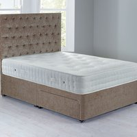 Shenice Platform Top Divan Set With 2 Drawers Chenille Mink