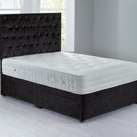 Shenice Sprung Edge Divan Set With 2 Drawers Chenille Charcoal