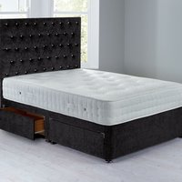 Shenice Sprung Edge Divan Set With 4 Drawers Chenille Charcoal