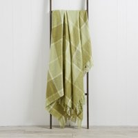 Checked Faux Mohair Green Throw Green