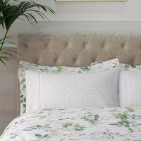 Dorma Botanical Garden Cuffed Pillowcase White / Green
