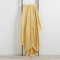 Ochre Faux Mohair Throw Ochre (Yellow)