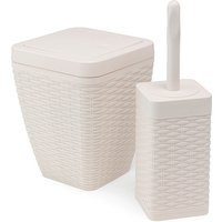 Addis Toilet Brush & Bin Set Cream