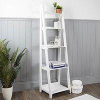 Nautical Wooden Ladder Shelves White White